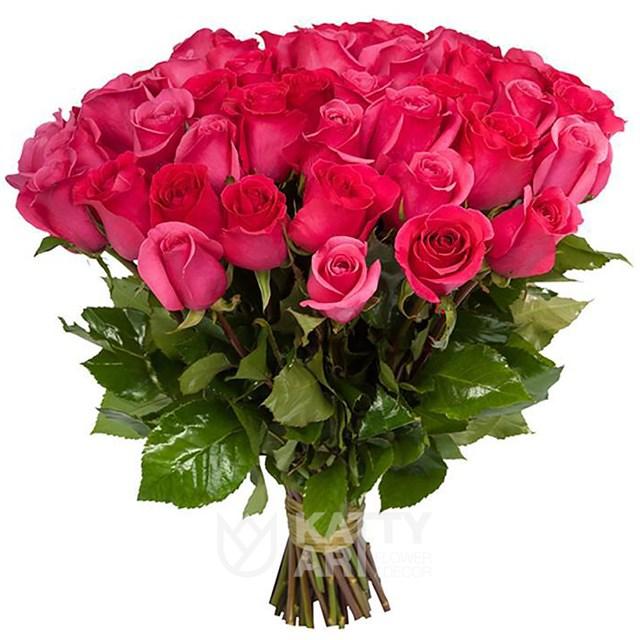 Букет из 75 розовых роз премиум 60см(Эквадор) - фото 5112