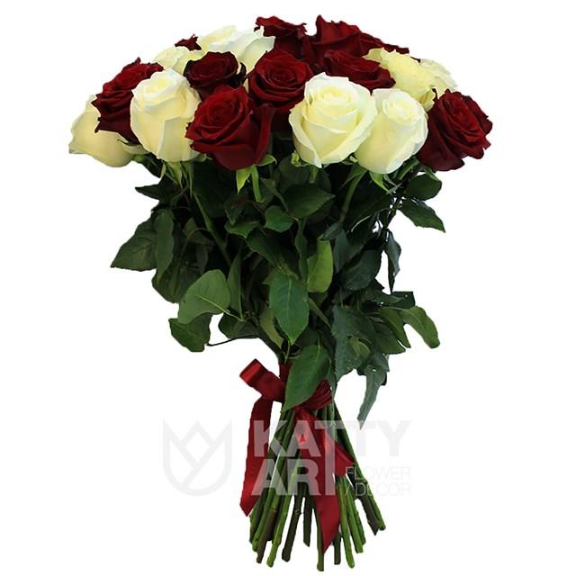 Букет из 25 белых и красных роз 60см(Эквадор) - фото 5314
