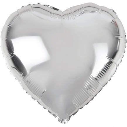 Воздушный шар Silver сердце 18 дюймов - фото 5474