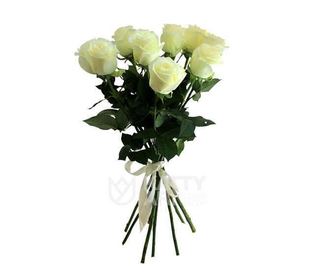 Букет из 9 белых роз 60см(Эквадор) - фото 5599