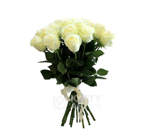 Букет из 21 белой розы 60см(Эквадор) - фото 5629