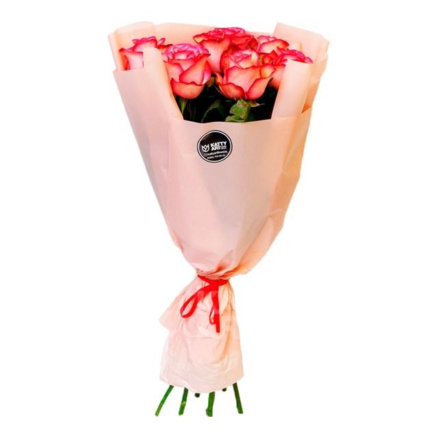 Роза Эквадор 60см двухцветная (7шт) - фото 6059