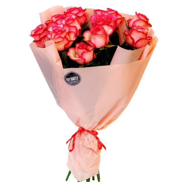 Роза Эквадор 60см двухцветная (11шт) - фото 6060
