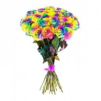 Букет из 9 радужных роз 60см  (Эквадор) - фото 6388