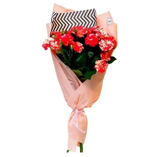 Букет из 75 кустовых роз Файер вокс - фото 7163