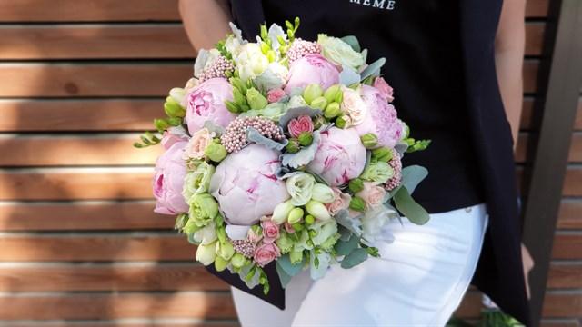Свадебный букет розовое облако - фото 7838