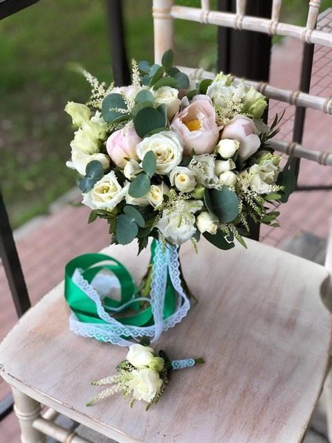 Свадебный букет Изумрудная любовь - фото 8088