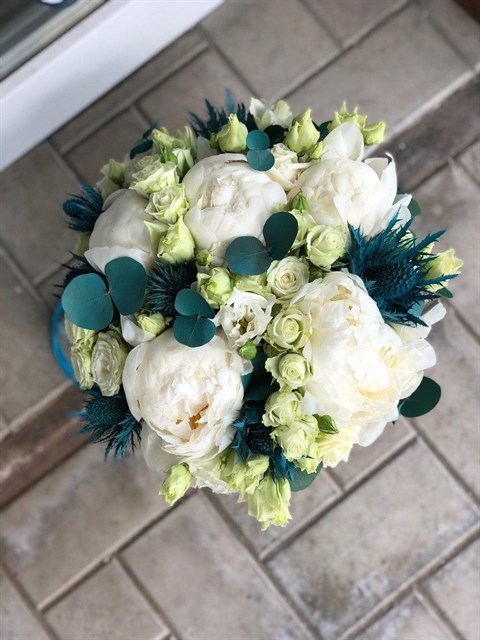 Бирюзовый прибой букет невесты - фото 8122
