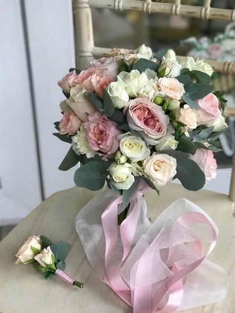 Букет невесты Розовый жемчуг - фото 8218