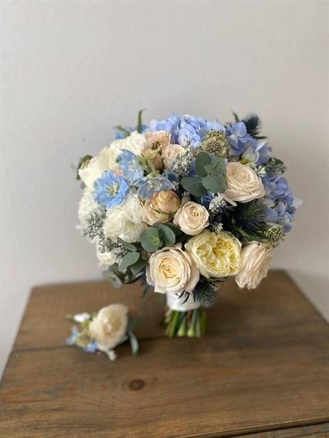 Букет невесты лазурь - фото 8916