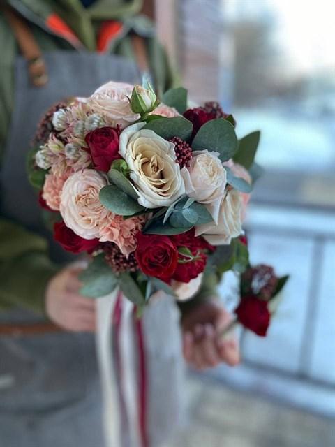 Букет невесты Винные нотки - фото 8990