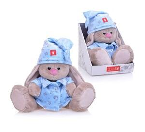 Мягкая игрушка зайка Ми в голубой пижаме (23см)