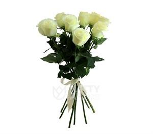 Букет из 9 белых роз 60см(Эквадор)