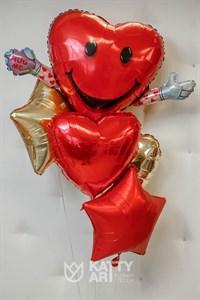 """Композиция из шаров """"Сердце с ручками"""""""